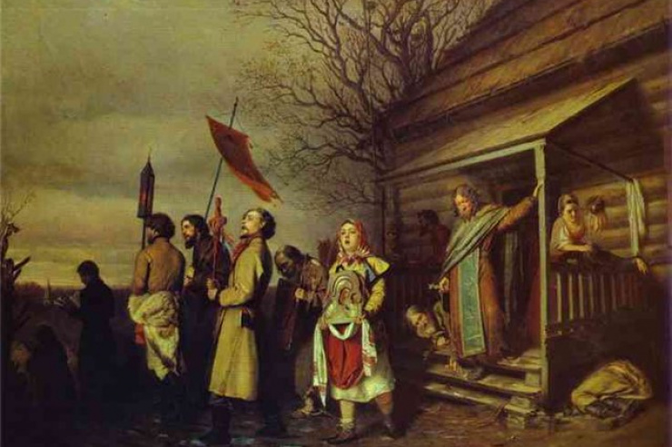 Сельский крестный ходна Пасху. Перов Василий Григорьевич 1862 г.