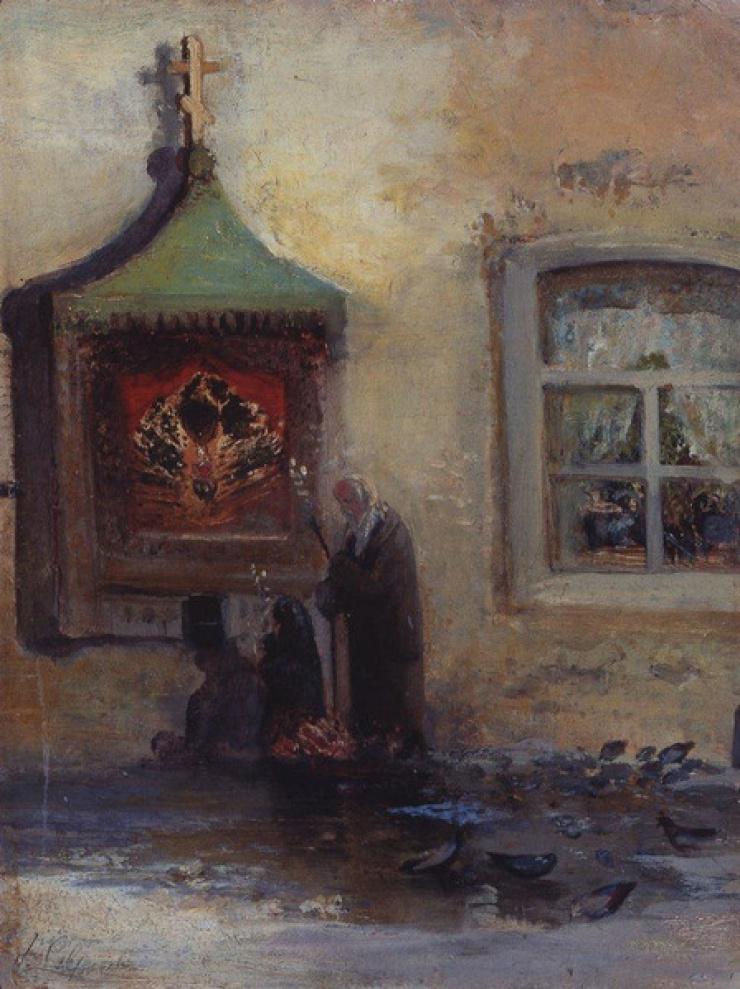 У иконы. Богомольцы. Саврасов А.К. конец 1870-х