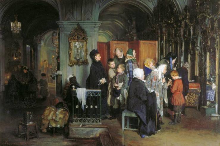 Перед исповедью. Корзухин А.И. 1877 г.