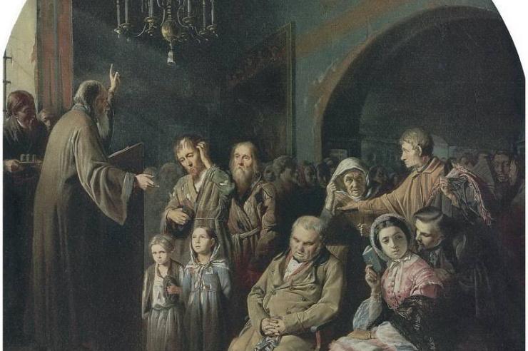 Проповедь в селе. Перов В. Г. 1861 г.