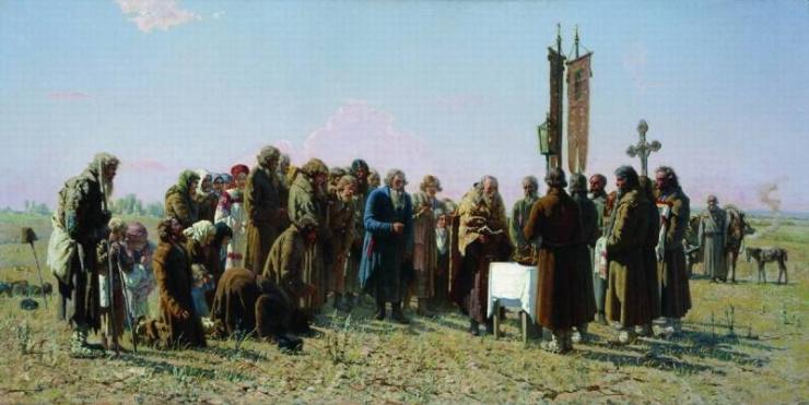 Молебен во время засухи. Мясоедов Г.Г. 1880 г.